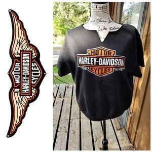 Harley Davidson Short Sleeved Sweatshirt